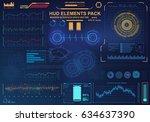futuristic virtual graphic... | Shutterstock .eps vector #634637390
