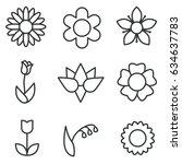 flowers icon set | Shutterstock .eps vector #634637783