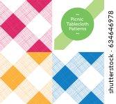 3 vector seamless picnic...   Shutterstock .eps vector #634646978