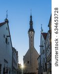 Small photo of Tallinn Estonia: May. 6 2017 Town Hall and Olde Hansa Restaurant with Sunset Tallinn Estonia