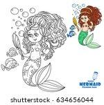 beautiful mermaid girl pretties ... | Shutterstock .eps vector #634656044