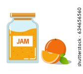 glass jar with jam and fruit... | Shutterstock .eps vector #634656560