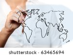 A picture of a young woman drawing a world map over white background - stock photo