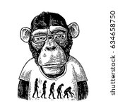 monkeys dressed in human t... | Shutterstock .eps vector #634658750