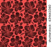aloha typography with hibiscus... | Shutterstock . vector #634661060