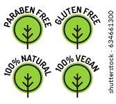 paraben free  gluten free  100  ... | Shutterstock .eps vector #634661300