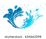 Splash Wave Design On White...