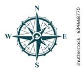 vintage nautical compass rose.... | Shutterstock .eps vector #634668770