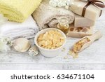 spa cosmetics and flowers on... | Shutterstock . vector #634671104