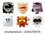 owl emoticons and characters in ... | Shutterstock .eps vector #634673474