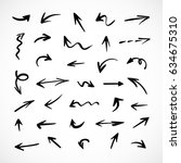 hand drawn arrows  vector set | Shutterstock .eps vector #634675310