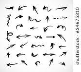 hand drawn arrows  vector set   Shutterstock .eps vector #634675310