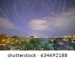 tracks of stars in night sky... | Shutterstock . vector #634692188