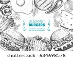 burgers and ingredients for... | Shutterstock .eps vector #634698578