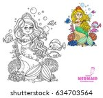 beautiful little mermaid girl... | Shutterstock .eps vector #634703564