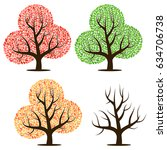 four trees with green  red ... | Shutterstock . vector #634706738