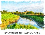 water colour painting of burrow ... | Shutterstock . vector #634707758