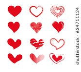 set of red heart icon.isolated... | Shutterstock .eps vector #634711124