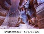 tall sandstone cliff walls at... | Shutterstock . vector #634713128