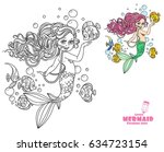 beautiful little mermaid girl... | Shutterstock .eps vector #634723154