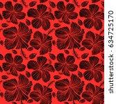 hibiscus flowers on red... | Shutterstock . vector #634725170