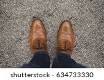 Small photo of Pair of fancy brogues, formal brogue mens leather shoes