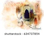 eid mubarak greeting   islamic... | Shutterstock . vector #634737854