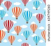 seamless hot air balloon   Shutterstock .eps vector #634749260