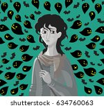 sad girl stressed anxiety bad... | Shutterstock .eps vector #634760063
