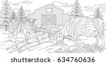 adult coloring farm | Shutterstock .eps vector #634760636