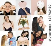 set of diversity people love... | Shutterstock . vector #634763480