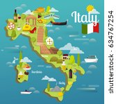 colorful italy travel map with... | Shutterstock .eps vector #634767254