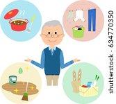 elderly man various housework   Shutterstock .eps vector #634770350