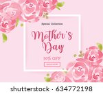 watercolor mother's day... | Shutterstock .eps vector #634772198