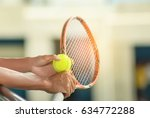 a tennis player prepares to... | Shutterstock . vector #634772288