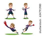 soccer goalkeeper character... | Shutterstock .eps vector #634791980