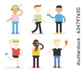 people in fun activity with a... | Shutterstock .eps vector #634797650