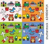 toys pattern vector | Shutterstock .eps vector #634806914