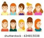 set of happy female avatars in... | Shutterstock . vector #634815038
