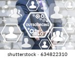 Small photo of Outsourcing Service Workforce Manpower Freelance Outsource International Partnership Branch Office Global Business Industry Concept. Man touched icon outsourcing text on virtual screen.
