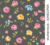 watercolor floral pattern with... | Shutterstock . vector #634822904