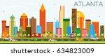 atlanta skyline with color...   Shutterstock . vector #634823009