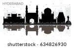hyderabad city skyline black... | Shutterstock .eps vector #634826930