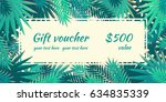 gift voucher with palm leaves.... | Shutterstock .eps vector #634835339