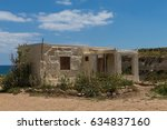 old house on the white chalk... | Shutterstock . vector #634837160