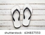 White Beach Flip Flop On White...