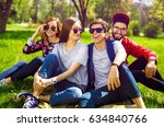 group of young people having... | Shutterstock . vector #634840766
