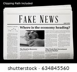 an isolated newspaper showing ... | Shutterstock . vector #634845560