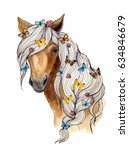 Stock photo watercolor illustration on a white background head of a brown horse and butterfly animal 634846679
