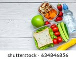 school lunch boxes with... | Shutterstock . vector #634846856
